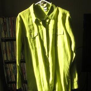 Linen Green Shirt Jacket Size 1